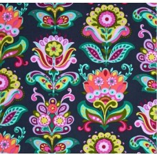 Bright Heart Folk Bloom Midnight Cotton Fabric by Amy Butler Fabric Traders