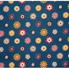 Picnic Enamel Flowers Teal by Cotton & Steel Fabric Traders