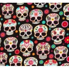Day Of The Dead Skulls Black by Timeless Treasures Fabric Traders