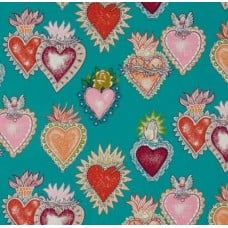 Folk Lorico Almay Corazon Turquoise Cotton Fabric by Alexander Henry Fabric Traders