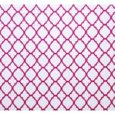 Quatrefoil Hot Pink on White Fabric Traders