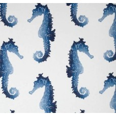 Seahorse Blue Marine Indoor Outdoor Fabric in Blue by Kaufmann Fabric Traders