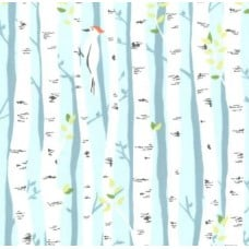 Birch Forest Backyard in Aqua Cotton Fabric by Michael Miller Fabric Traders