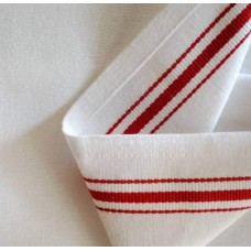 Tea Towelling High Quality Fabric White Red Woven Stripe Fabric Traders