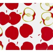 Mexican Oilcloth Laminated Fabric Apple Toss Red Fabric Traders