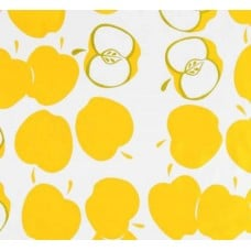 REMNANT - Mexican Oilcloth Laminated Fabric Apple Toss Yellow Fabric Traders
