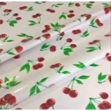 Mexican Oilcloth Laminated Fabric Cherries White Fabric Traders
