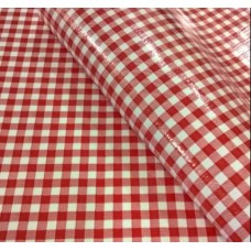 Mexican Oilcloth Laminated Fabric Gingham Red Fabric Traders