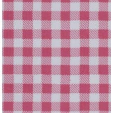 REMNANT - Mexican Oilcloth Laminated Fabric Gingham Rose Pink Fabric Traders
