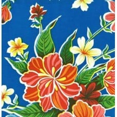 REMNANT PACK - Mexican Oilcloth Laminated Fabric Hibiscus Blue Fabric Traders