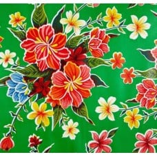 REMNANT - Mexican Oilcloth Laminated Fabric Hibiscus Green Fabric Traders