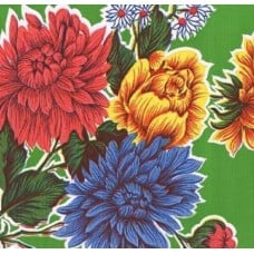 Mexican Oilcloth Laminated Fabric Mums Green Fabric Traders