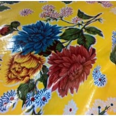 Mexican Oilcloth Laminated Fabric Mums Yellow Fabric Traders