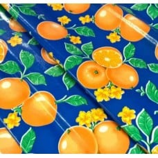 REMNANT - Mexican Oilcloth Laminated Fabric Orange Toss Blue Fabric Traders