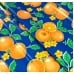 Mexican Oilcloth Laminated Fabric Orange Toss Blue Fabric Traders