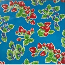 Mexican Oilcloth Laminated Fabric Strawberries on Blue Fabric Traders