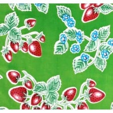Mexican Oilcloth Laminated Fabric Strawberries on Green Fabric Traders