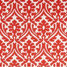 Holly Leaf Indoor Outdoor Fabric in Coral and White Fabric Traders