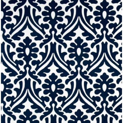 Holly Leaf Indoor Outdoor Fabric in Navy and White | Fabric Traders