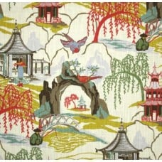 Neo Toile Coral Home Decor Print Fabric by Robert Allen @ Home Fabric Traders