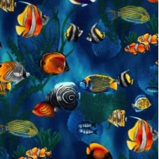 Island Sanctuary Sea Tropical Fish Cobalt by Robert Kaufman Fabric Traders