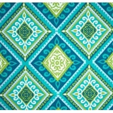 Spanish Tile Peacock Indoor Outdoor Fabric Fabric Traders