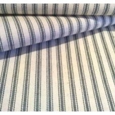 Ticking French Stripe Cotton Fabric Grey and Ivory Fabric Traders