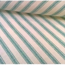 Ticking French Stripe Cotton Fabric Teal Ivory Fabric Traders