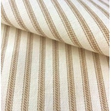 Ticking Stripe Cotton Fabric Brown Cream Fabric Traders