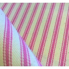 Ticking Stripe Cotton Fabric Pink Cream Fabric Traders