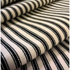 Ticking Stripe Luxe Cotton Home Decor Fabric Black Cream by Waverly Fabric Traders
