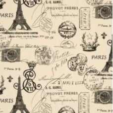 REMNANT - French Stamped in Onyx Home Decor Cotton Fabric Fabric Traders
