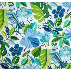 Hawaiian Hibiscus Flowers in Blue Outdoor Fabric Fabric Traders