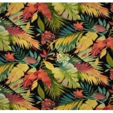 Isles of South Seas Palm Outdoor Fabric in Black Fabric Traders