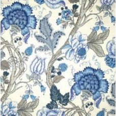 La Maison Florals in Blue and Ivory Home Decor Linen Fabric Traders