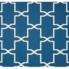 Mrs Emsworth Geomteric Outdoor Fabric in Blue Fabric Traders