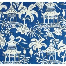 The Pagoda Moon in Blue Home Decor Linen Cotton Fabric Traders