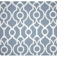 REMNANT - Trellis in Cashmere Blue and White Cotton Home Decor Fabric Fabric Traders