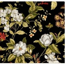 Garden Images in Black Home Decor Fabric  - OFFCUT Fabric Traders