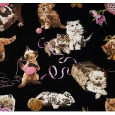 What s New Pussycat? Black Cotton Fabric by Alexander Henry Fabric Traders