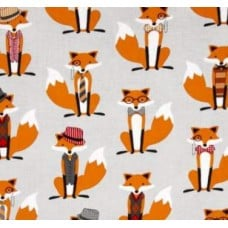 Fox and the Houndstooth Foxes Grey Cotton Fabric by Michael Mill Fabric Traders