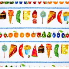 Very Hungry Caterpillar Striped Picnic Treats Cotton Fabric Fabric Traders