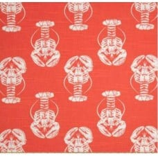 Lobster Cotton Home Decor Fabric in Orange Fabric Traders