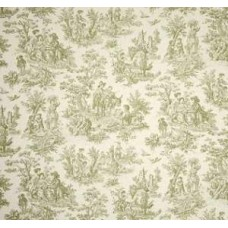 REMNANT - Charmed Life Toile Tarragon and Ivory Home Decor Fabric By Waverly Fabric Traders