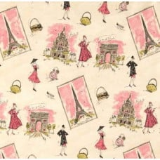 Paris Tres Chic Pink Home Decor Cotton Fabric by Waverly Fabric Traders
