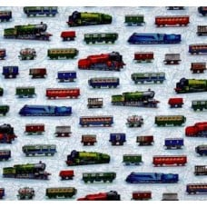 All Aboard Trains Cotton Fabric by Robert Kaufman Fabric Traders