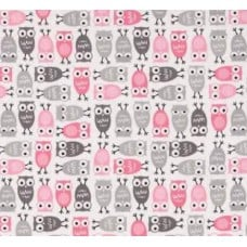 REMNANT - Mini Owls in Pink Cotton Fabric by Robert Kaufman Fabric Traders
