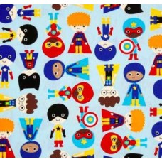 Super Kids in Blue Cotton Fabric by Robert Kaufman Fabric Traders