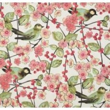 In The Air Blossom In Pink, Coral Rose, Kiwi and Ivory Home Decor Fabric By Waverly Fabric Traders