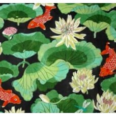 Lotus Leaf Chintz in Black Home Decor Cotton Fabric Fabric Traders